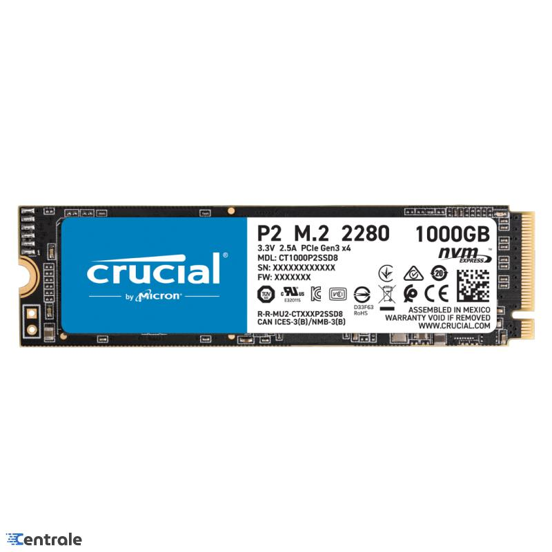 Disco SSD 1TB NVMe Crucial P2 PCIe M.2 2280 CT1000P2SSD8