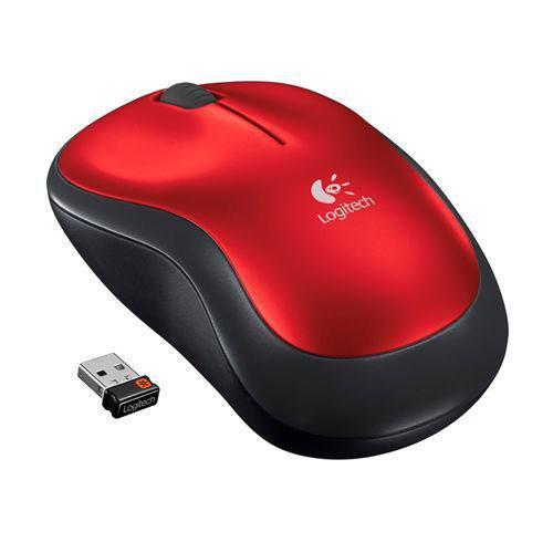 Logitech Mouse Inalambrico M185 Óptico 1000Dpi Color Rojo 910-003635
