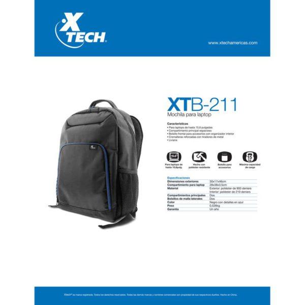 "Xtech Mochila Para Notebook 15.6"" Durable Polyester Black XTB-211"