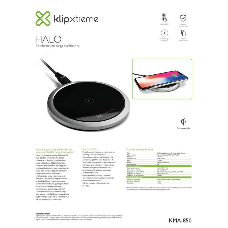 Klip Xtreme Inalámbrico Charger Pad Fast Charging KMA-850